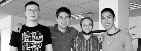 Gephi Team during Helder's visit in Paris (from left to right: Julian, Mathieu, Seb, Helder)